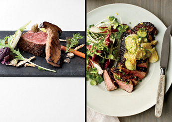 Grilled Steak with Cucumber-and-Daikon Salad