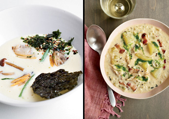 Miso Clam Chowder with Parsley Oil