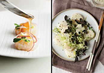 Dashi-Poached Scallop Salad with Wasabi Dressing