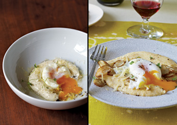 David Bouley: Poached Eggs with Sunchokes and Comté Polenta