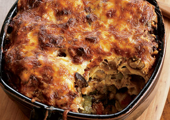 Thanksgiving Vegetarian Casseroles:Two-Cheese Moussaka with Sautéed Mushrooms and Zucchini