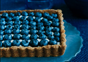 Red, White and Blue Desserts Honeyed Yogurt and Blueberry Tart with Ginger Crust