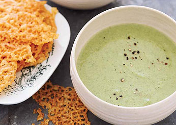 Thanksgiving Vegetarian Soups: Creamy Broccoli Soup with Cheddar Crisps