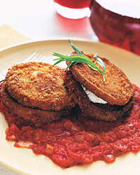 Eggplant and Goat-Cheese Sandwiches with Tomato Tarragon Sauce