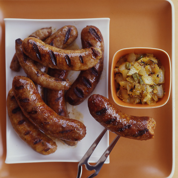 Sausages with Grilled-Onion Chowchow