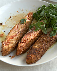 Mustard-and-Coriander-Crusted Salmon with Watercress & Parsley Salad