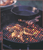 Grilled Cornish Hens with Bacon and Mustard