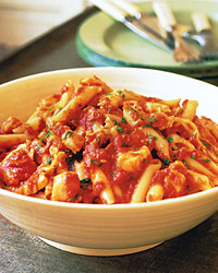 Penne Arrabbiata with Flaked Cod