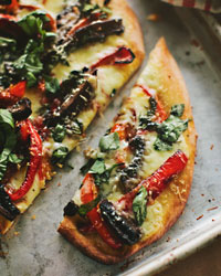 Homemade Pizza Recipes: Portobello-Mushroom and Red-Pepper Pizza