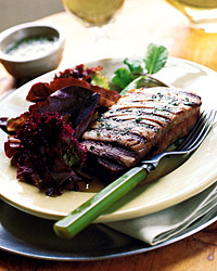 Grilled Tuna with Mint Sauce