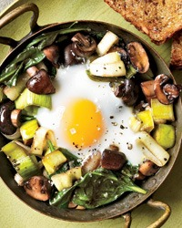 Eggs Baked Over Mushrooms