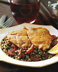 Chicken Thighs with Lentils