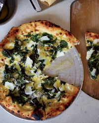 Pizza with Garlic Cream and Nettles Recipe
