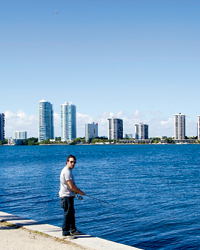 Ben Sargent fishes in Biscayne Bay