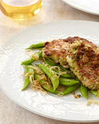 Chicken Thighs with Garlicky Crumbs and Snap Peas