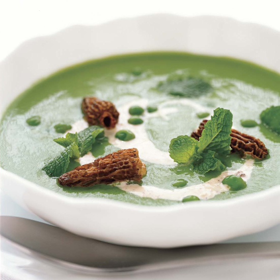 Garden Pea Soup with Morel Cream