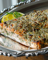 Broiled Salmon with Blue Cheese, Lemon and Dill