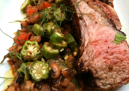 Grilled Lamb Chops with Black Bean Salad and Okra Pickles