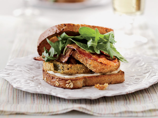 This riff on a BLT uses fried cornmeal-dusted green tomatoes instead of the usual red tomatoes in this classic sandwich. // © Quentin Bacon