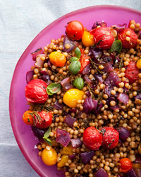 Fregola with Charred Onions and Roasted Cherry Tomatoes