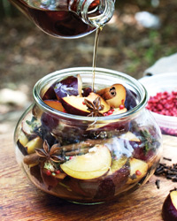 Salty-Sweet Spiced Pickled Plums