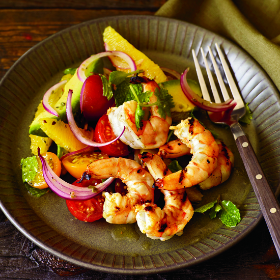 Grilled Shrimp with Mom's Avocado-and-Orange Salad