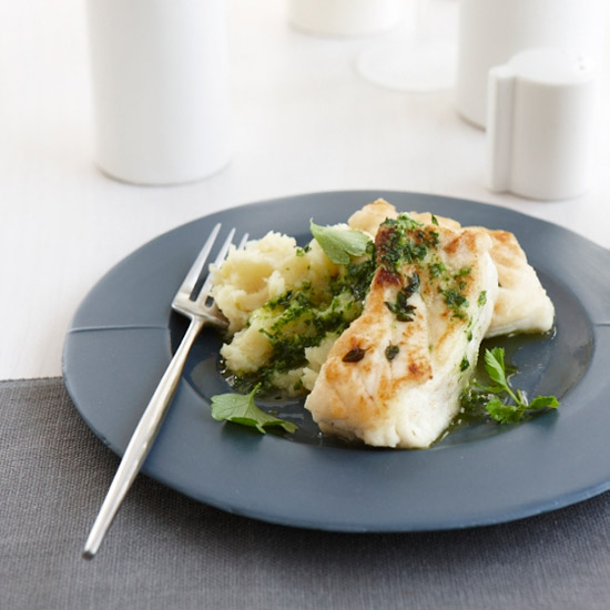 Thyme–Crusted Buttery Halibut with Parsley Sauce