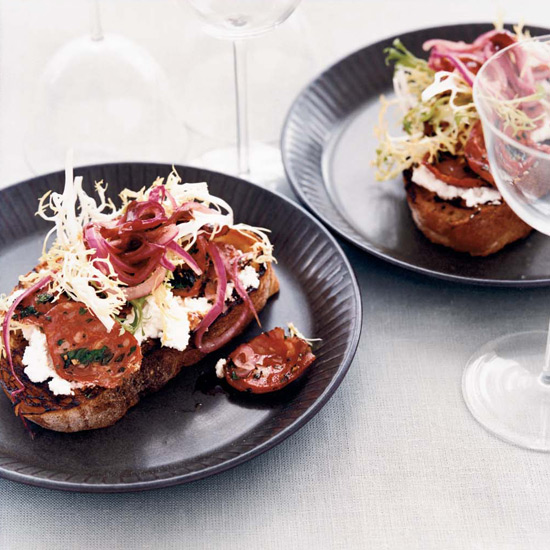 Crostini with Creamy Ricotta and Chorizo
