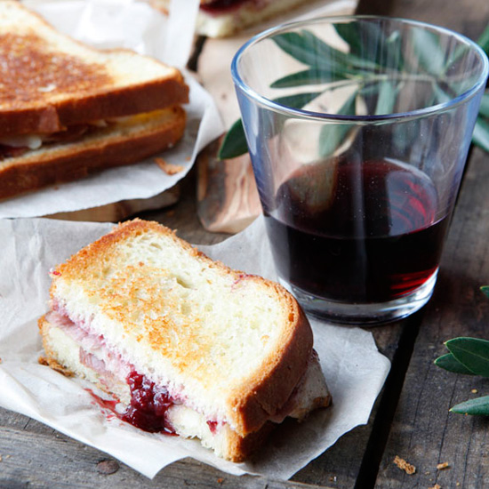 Day 20: Grilled Ham and Cheese with Strawberry-Red-Wine Jam
