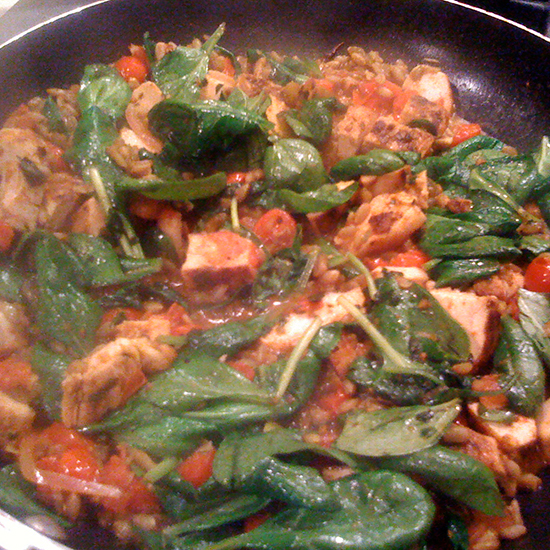 Harissa Chicken and Spinach Stir-Fry
