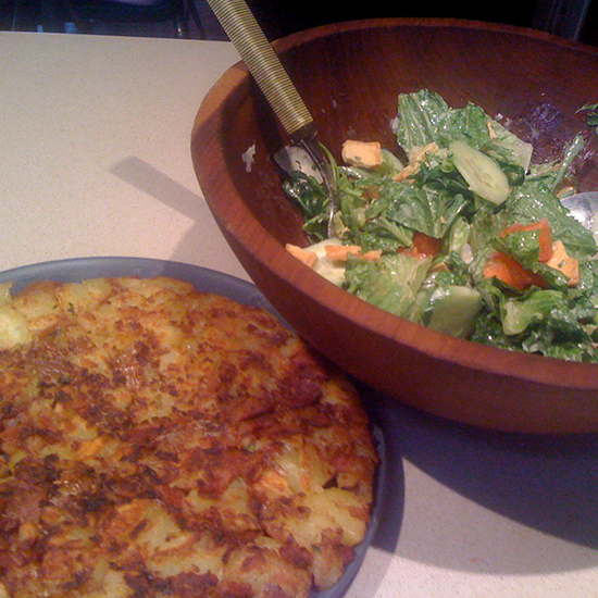 Potato Cake with Green Salad