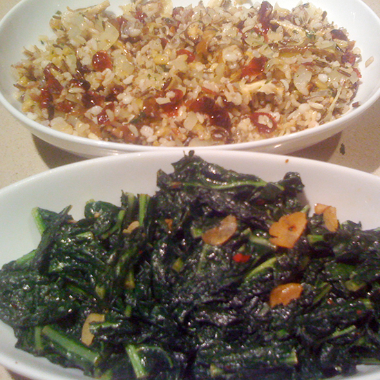 Tuscan Kale with Garlic and Wild and Brown Rice Blend