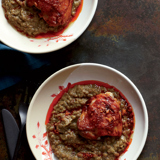 Roast Chicken Thighs with Lentil Stew