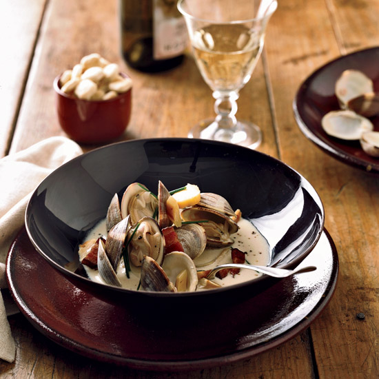 Viognier-Steamed Clams with Bacon and Parsnips