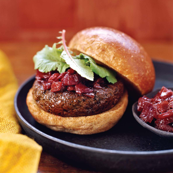 All-American Hamburgers with Red Onion Compote
