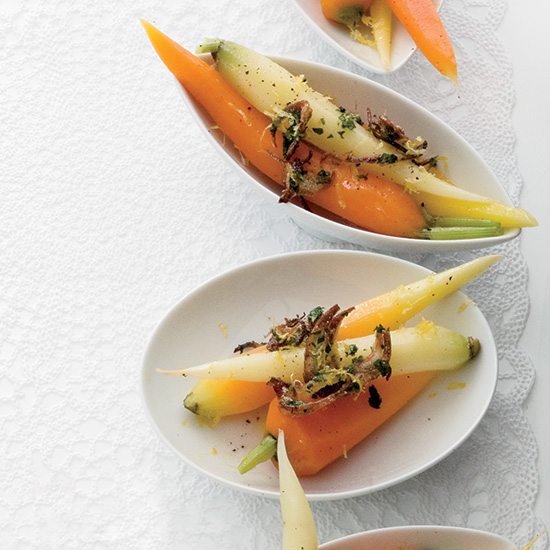 Carrots with Fried Shallot Gremolata