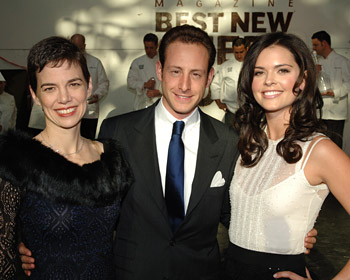 F&W editor in chief Dana Cowin, Maximilian Riedel (CEO of Riedel Crystal USA) and Katie Lee Joel (host of Bravo's <em>Top Chef</em>).
