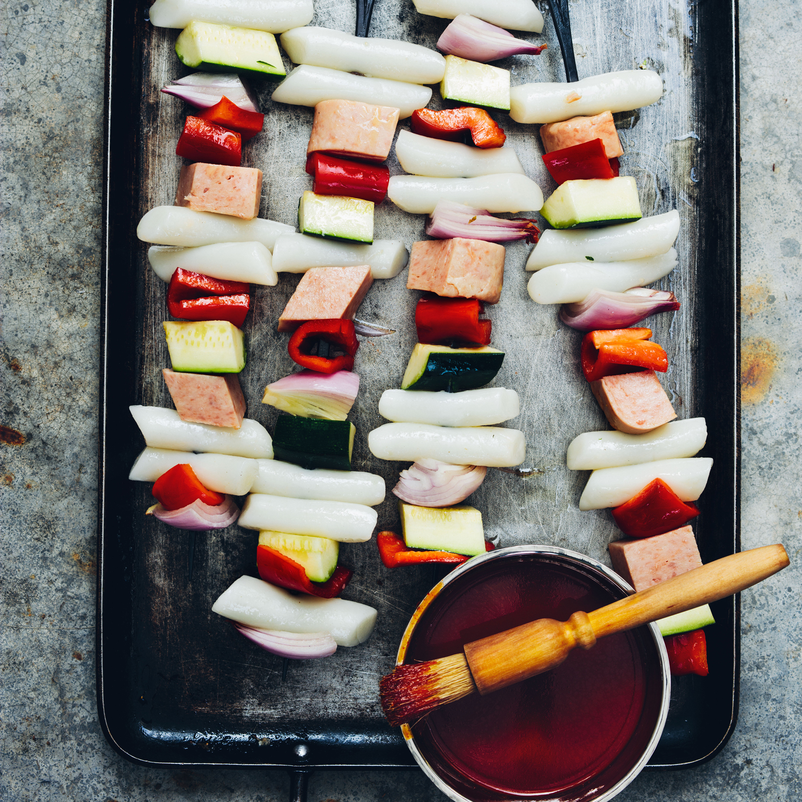 Glazed Korean Rice Cake Skewers with Spam