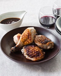 Chicken Legs with Roasted Garlic–Ancho Sauce