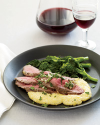 Lemon-and-Fennel-Roasted Lamb with Polenta