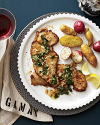Veal Scaloppine with Wilted Parsley, Lemon and Sesame
