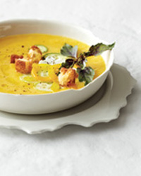 Chilled Peach Soup with Fresh Goat Cheese