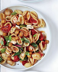 Orecchiette with Greens, Mozzarella and Chickpeas