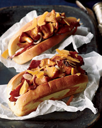 "Pastrami-and-Mushroom ""Hot Dogs"""