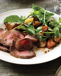 Roast Beef with Root-Vegetable-and-Green-Peppercorn Salad
