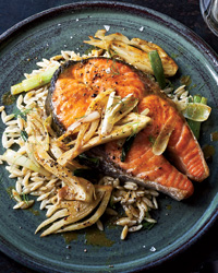 Salmon Steaks with Curried Fennel-Wine Sauce