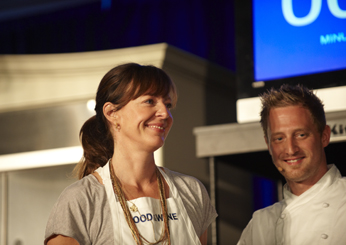 Celebrity sous chef Allison Janney and <em>Top Chef</em> Season 6 winner Michael Voltaggio prepare for the Classic Quickfire