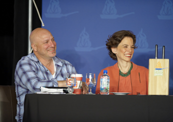 <em>Top Chef</em> judge Tom Colicchio and F&W Editor in Chief Dana Cowin at the judges table