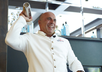 Tony Abou-Ganim demonstrates proper cocktail shaking technique