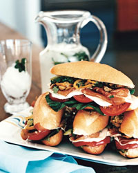Prosciutto and Mozzarella Heros with Olive Relish